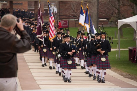 Each year, the pipers lead our Commencement ceremony proudly.