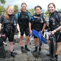 Emalee Ousley (pictured left) and classmates after a scuba excursion.