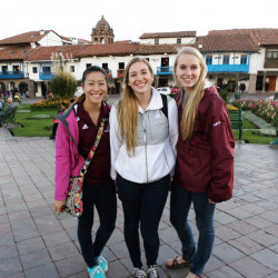 Jade Paquin (pictured left) and classmates in Peru.