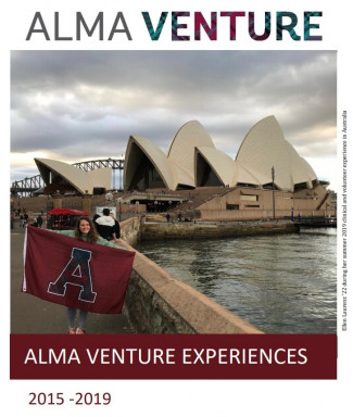 Alma Venture Title Page: student in front of Sydney Opera House holding Alma flag