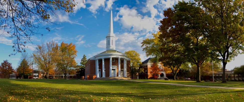 Alma College's beautiful center of campus — the Dunning Memorial Chapel.