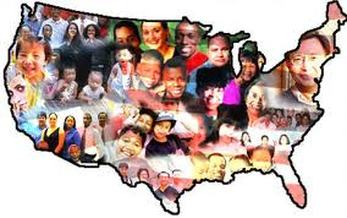 United States map filled with images of people of different ethnicities.