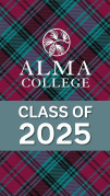 Alma College logo over teal banner that says 'Class of 2025' on tartan background.