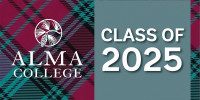 Alma College logo beside teal banner that says 'Class of 2025' on tartan background.