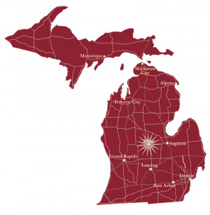 Map of Michigan, with Alma highlighted in the center about an hour north of Lansing.