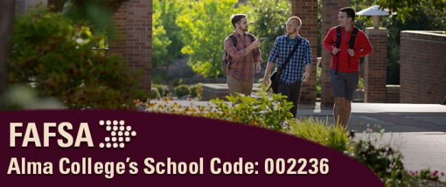 FAFSA image with Alma College's school code.