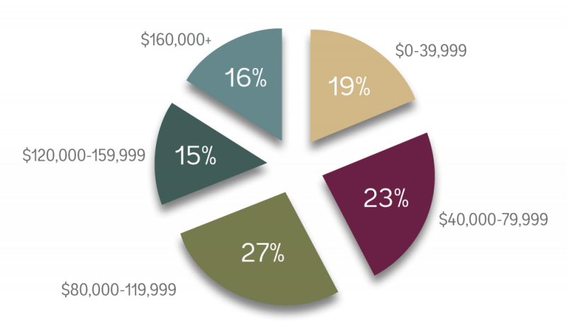 A breakdown of average income for Alma students. Most families make between 40,000-119,000.