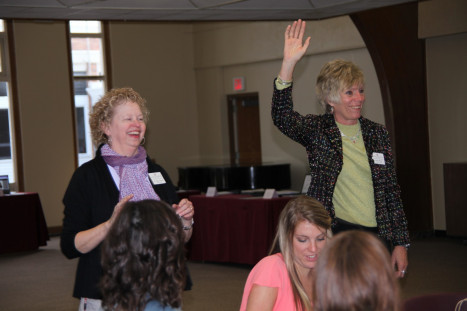 Dr. Peggy Thelen and Mrs. Kathy Paul (Coordinator of Field Experiences) greet student teachers, cooperating teachers, field instructors and area principles at the end-of-term banquet.
