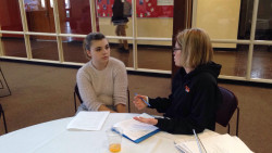 Student Teacher, Emma Tomaszewski '18, and her Cooperating Teacher, Jill Sandro, make plans for their shared classro...