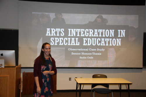 "Sadie Gelb '19 who majors in Educational Studies and Dance from Indianapolis, Indiana presented different aspects of her project in two Honor's Day presentations.  Sadie presented ""Arts Integration and Special Education"" about her observational case study which explored the research question, ""How does arts integration in math benefit student learning in the special education setting?""  The faculty sponsor for this presentation was Dr. Peggy Yates.Sadie also presented ""Dance and Disability in the Classroom."" The guiding question of this research is ""how is adaptive dance taught in the studio setting?"" This research culminates with an adaptive dance curriculum which will be shared with the dance and disability community, including the teachers of the special education classes involved, the volunteers and local dance studios.  This presentation was sponsored by Ms. Rosely Conz."