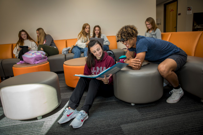 Students study in a recently remodeled Bruske Hall lounge.