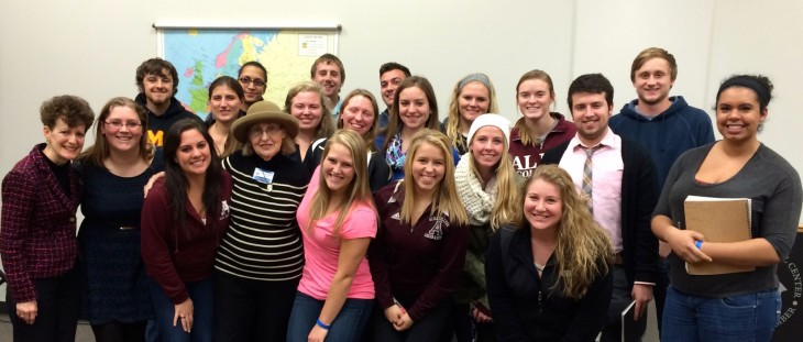 Intercultural Communication students with Holocaust survivor, Paula Bolton (Center)