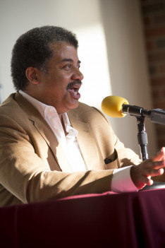 Neil DeGrasse Tyson hosting a private Q&A session on Alma College's campus before his presentation.