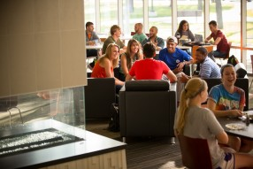 Students gather in Hamilton Commons, Alma's main dining location on campus.