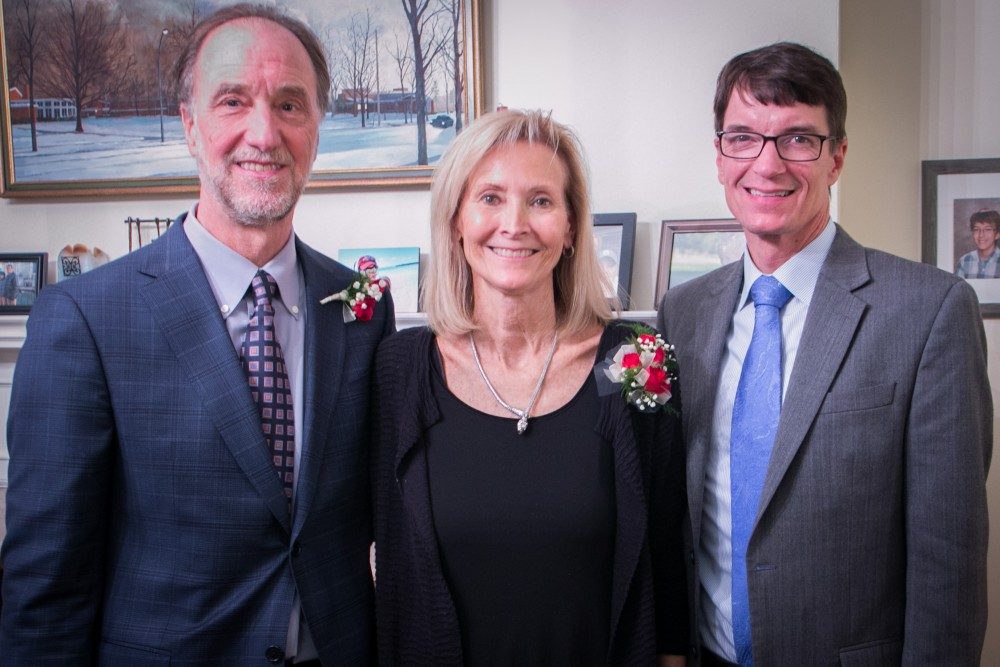From left: Dr. Richard Frutiger, Dr. Sara Wassenaar, Alma College President Jeff Abernathy.