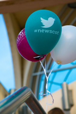 "Balloons with saying ""#NewScot"""