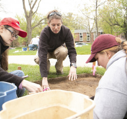 Students in the Spring Term 2018 anthropology course Michigan Archaeological Fieldwork conduct a dig at the site of Alma C...