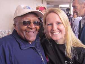 Morgan Beeler (right), with South African social rights activist Desmond Tutu.
