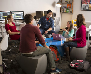 <em>Students gather in the Digital Media Lab.</em>