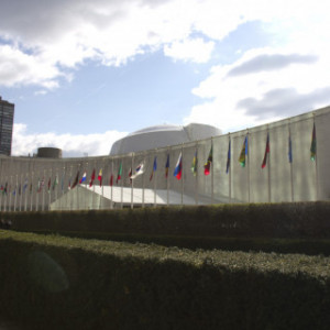 Flags fly outside the Model UN headquarters in New York City.