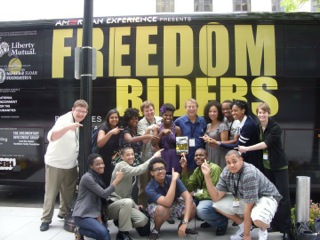 14 of the 40 Student Freedom Riders in front of the bus they rode from D.C. to New Orleans.