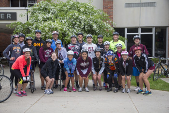 Spring Term students prepare for a cross-country bike tour.