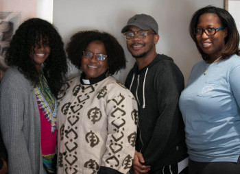 Naomi Tutu with Alma students.