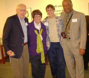 <em>Schultz (far right), at the dedication of the archives of Sister Helen Prejean (second from left) to Chicago's DePaul University.<br><br></em>
