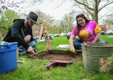 Spring Term on campus: Old Main archaeology.