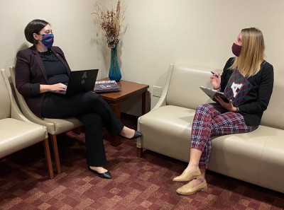 From left, Amanda Slenski, vice president for admissions at Alma College, is pictured with Sarah ...