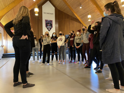 The Alma College dance team is pictured March 8, huddled up inside its new, state-of-the-art prac...