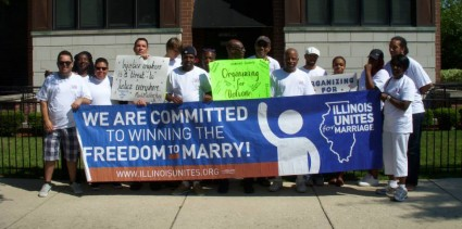 <em>Activists for Illinois Unites of Marriage march in Chicago's Bud Milliken Parade, the oldest and largest parade for African-Americans in the U.S. Schultz is sixth from the right.<br><br></em>
