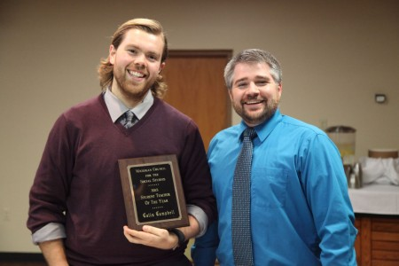 <em>Collin Campbell, with cooperating teacher Adam Lincoln, a 2002 Alma College alumnus.<br><br></em>