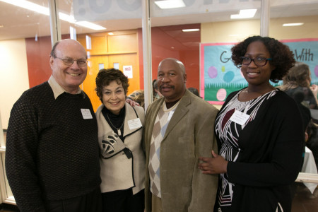 <em>Sponsor a Venture donors John and Nancy Colina with George Turner (grandfather of TiKilah) and TiKilah Turner '19.</em>