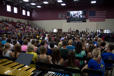 New students and their families attend the Welcoming Convocation.