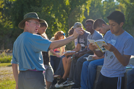 Biologist Mike Bishop teaches a First-Year Seminar on birds.