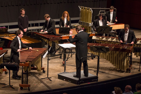 Director Dave Zerbe conducts the Percussion Ensemble.