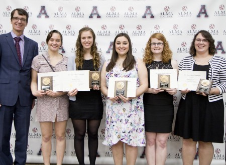 Outstanding seniors: From left: President Abernathy, Emily Johnson, Lauren Engels, Hannah Korell, Jessica McLeod and Katherine Krauss.