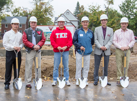 Shovels are poised for the TKE House groundbreaking. TKE alumni are raising funds for the construction of the small house at 313 Philadelphia Street. The house will provide a residence for up to 20 fraternity members. The target completion date is March 2014.