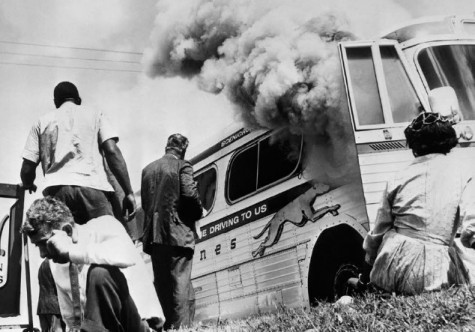 Burning bus image. Credit: Corbis