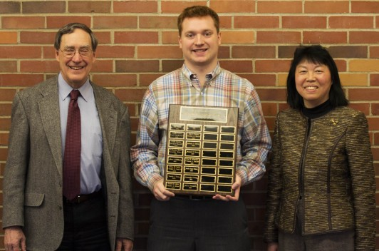<em><strong>From left: History Professor Ed Lorenz, MJJ Smith Scholarship recipient Neil Youngdahl, History Professor Liping Bu.</strong></em>