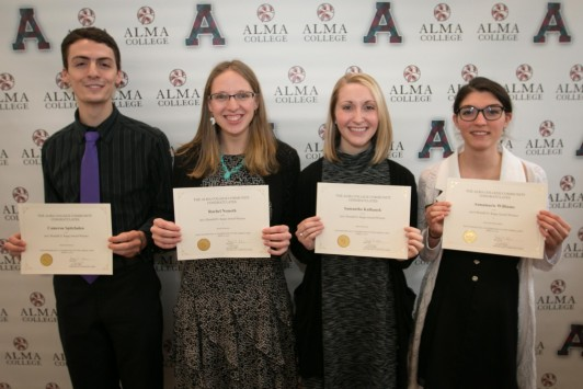 <em>Winners of the 2017 Kapp Honors Day Prize, from left: Cameron Spitzfaden, Rachel Nemeth, Samantha Kulhanek and Annamarie Williams. Missing is Ethan Akans.</em>