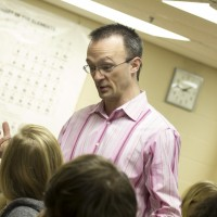 Jeff Turk, associate professor of chemistry, interacts with his Chemistry students during class.