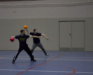 Alma students playing in a dodgeball intramural league during the winter semester at the Stone Center for Recreation.