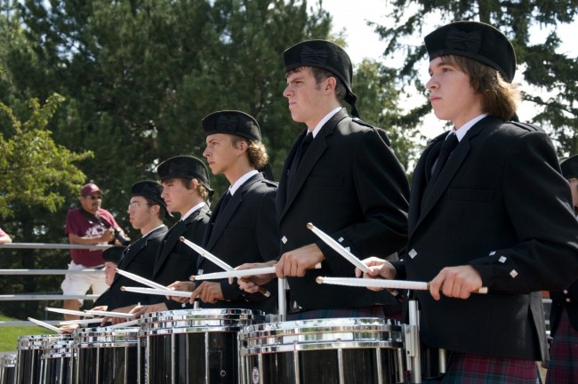 Pipe band and Kiltie Marching Band drummers