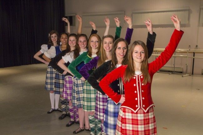 Kiltie Dancers: (front to back) Olivia Horton '14, Natalie McNeil '14, Heather Randell '15, Eizab...