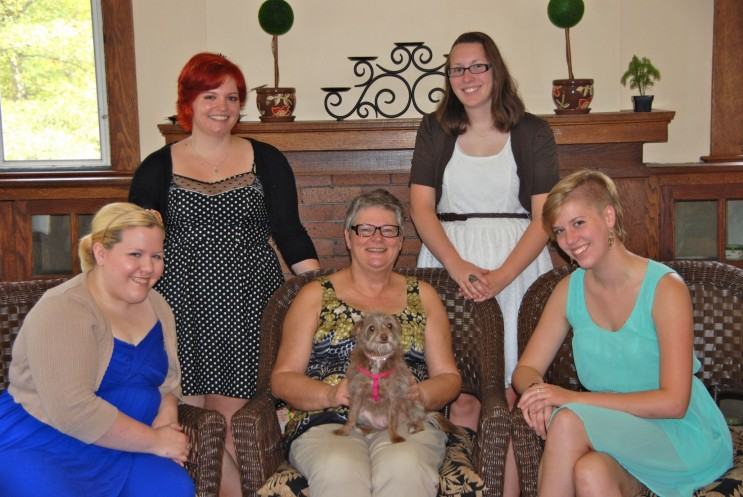 MacCurdy house residents and advisor: Chloe Secor '14, Emily Kirby '14, Ashley Tuttle '15, Amanda Coe '14, and Terri Freeland.