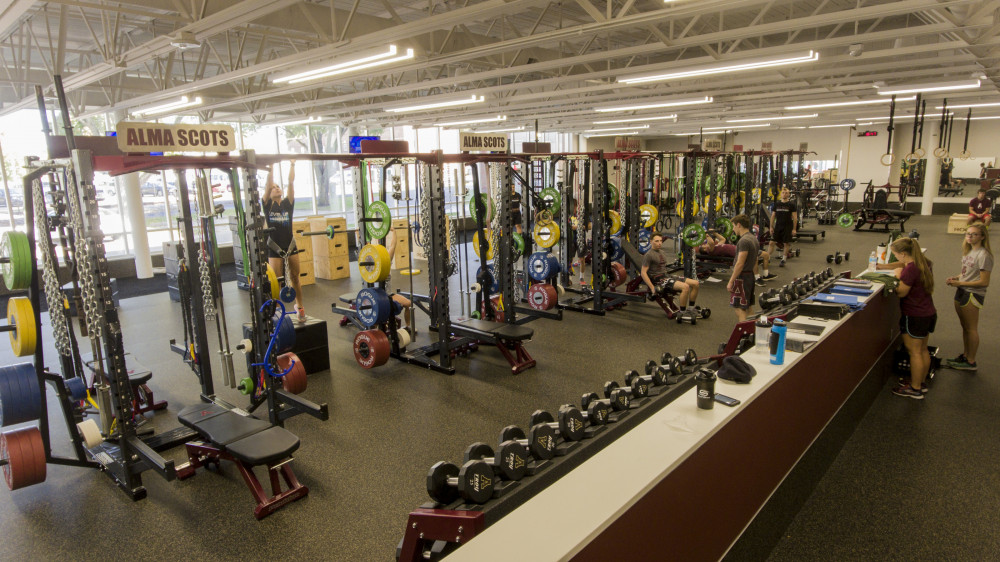 Strength training equipment in Hogan Center wrestling and strength facility.
