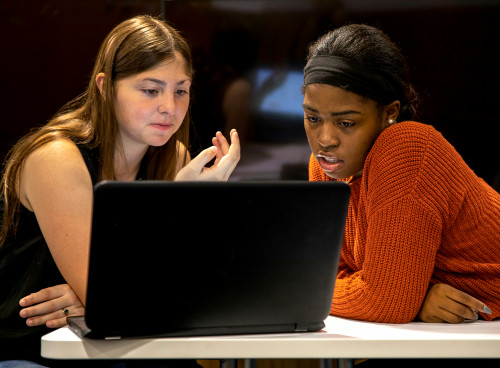 Close up shot of two female students looking thoughtfully at a laptop screen.