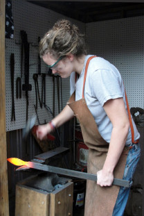 Student Meghan Cheyne in the forge — you can work with all types of tools and materials in the ...